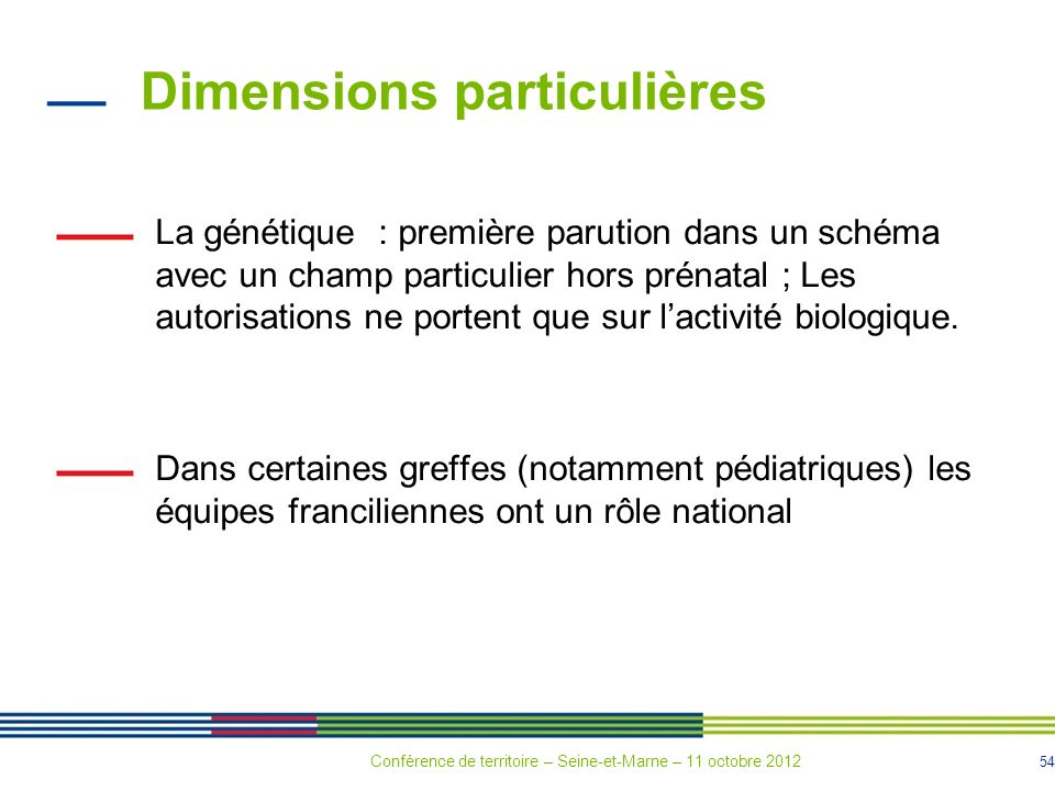 54 Dimensions particulières La génétique : première parution dans un schéma avec un champ particulier hors prénatal ; Les autorisations ne portent que