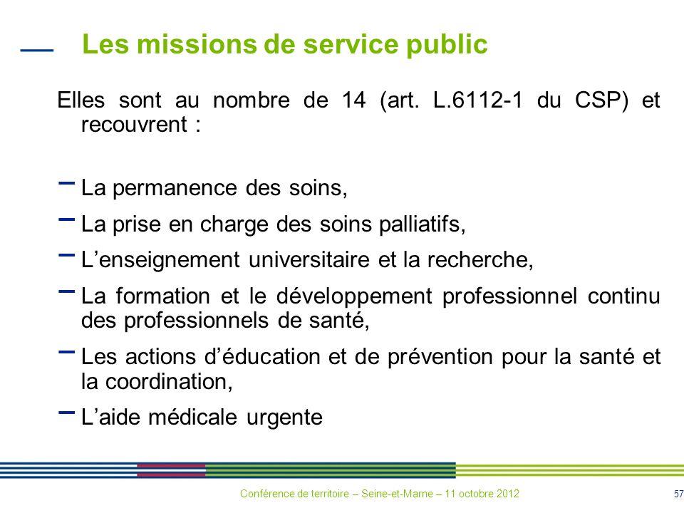 57 Les missions de service public Elles sont au nombre de 14 (art. L.6112-1 du CSP) et recouvrent : La permanence des soins, La prise en charge des so