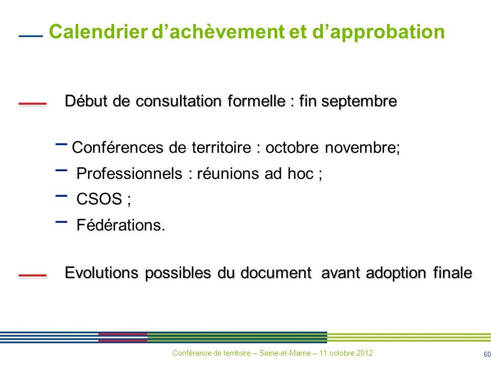 60 Calendrier dachèvement et dapprobation Début de consultation formelle : fin septembre Conférences de territoire : octobre novembre; Professionnels
