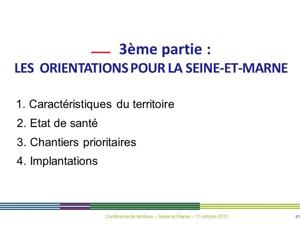 61 3ème partie : LES ORIENTATIONS POUR LA SEINE-ET-MARNE 1. Caractéristiques du territoire 2. Etat de santé 3. Chantiers prioritaires 4. Implantations