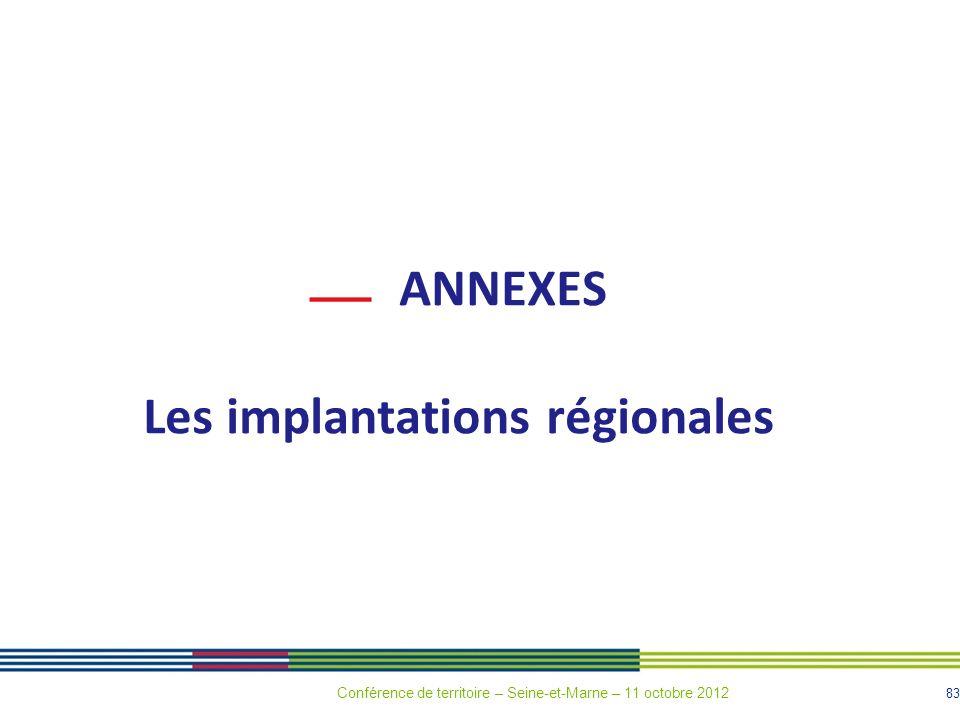 83 ANNEXES Les implantations régionales Conférence de territoire – Seine-et-Marne – 11 octobre 2012