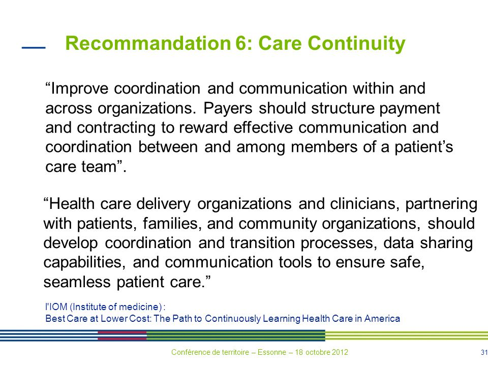 31 Recommandation 6: Care Continuity Improve coordination and communication within and across organizations.