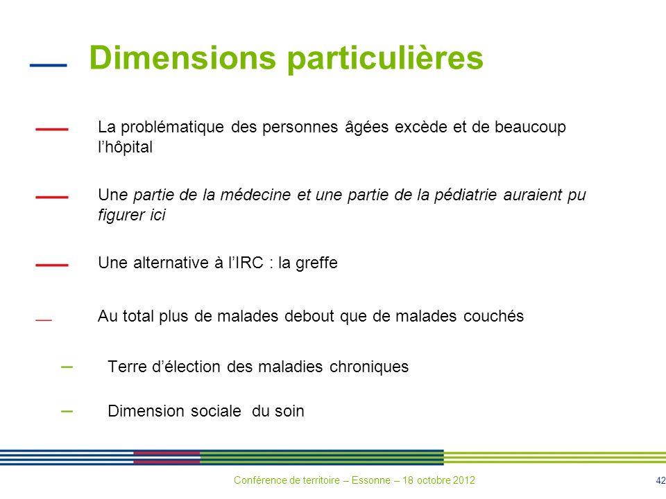 42 Dimensions particulières La problématique des personnes âgées excède et de beaucoup lhôpital Une partie de la médecine et une partie de la pédiatri