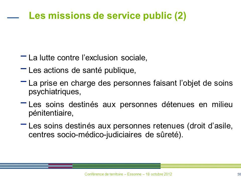 58 Les missions de service public (2) La lutte contre lexclusion sociale, Les actions de santé publique, La prise en charge des personnes faisant lobj
