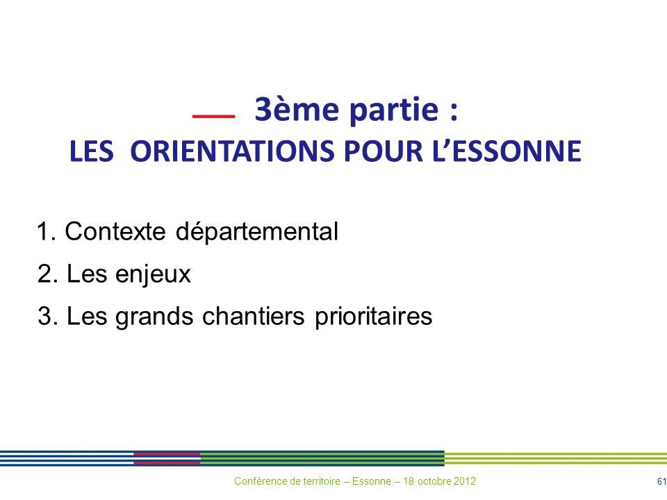 61 3ème partie : LES ORIENTATIONS POUR LESSONNE 1. Contexte départemental 2. Les enjeux 3. Les grands chantiers prioritaires Conférence de territoire