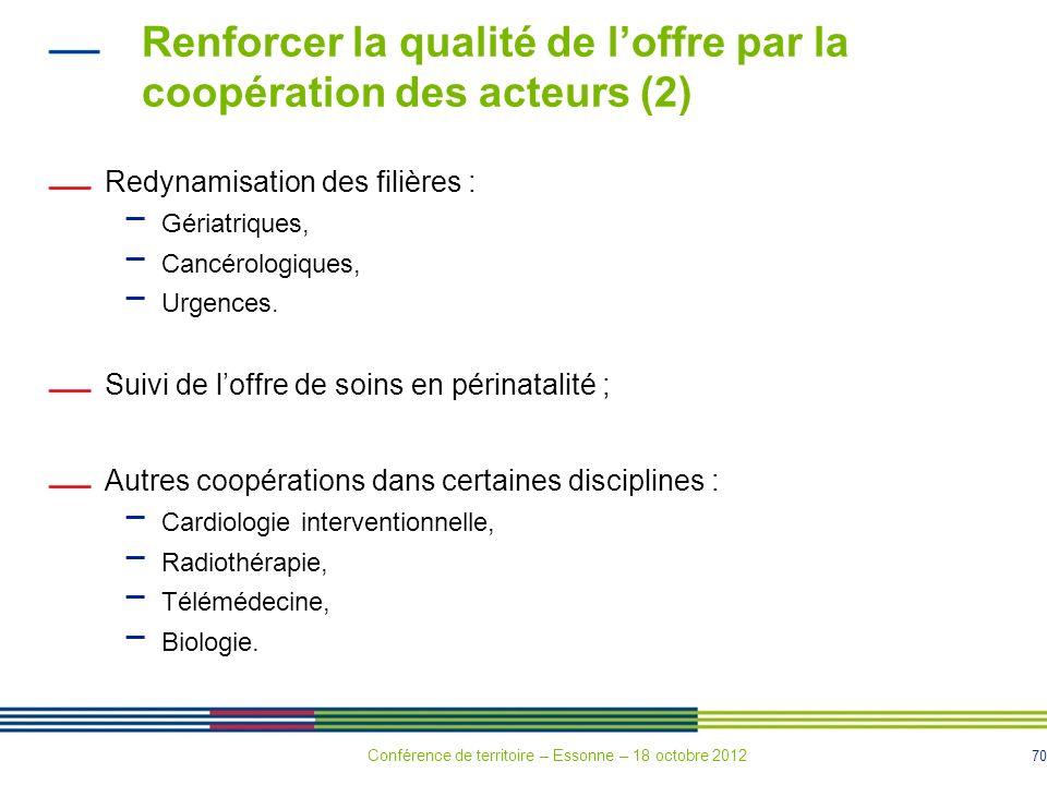 70 Renforcer la qualité de loffre par la coopération des acteurs (2) Redynamisation des filières : Gériatriques, Cancérologiques, Urgences. Suivi de l