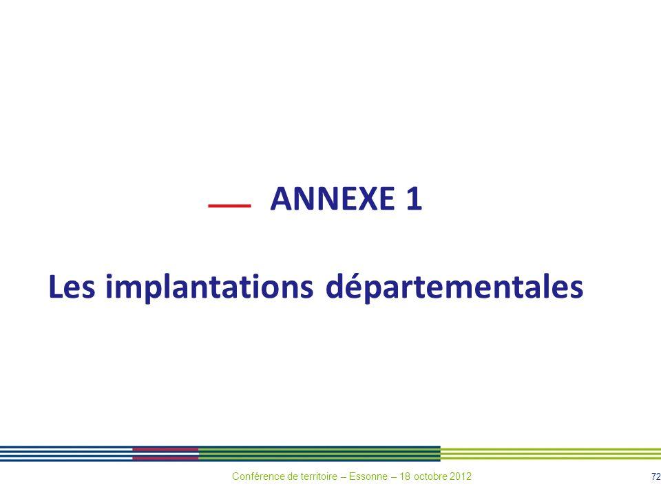 72 ANNEXE 1 Les implantations départementales Conférence de territoire – Essonne – 18 octobre 2012