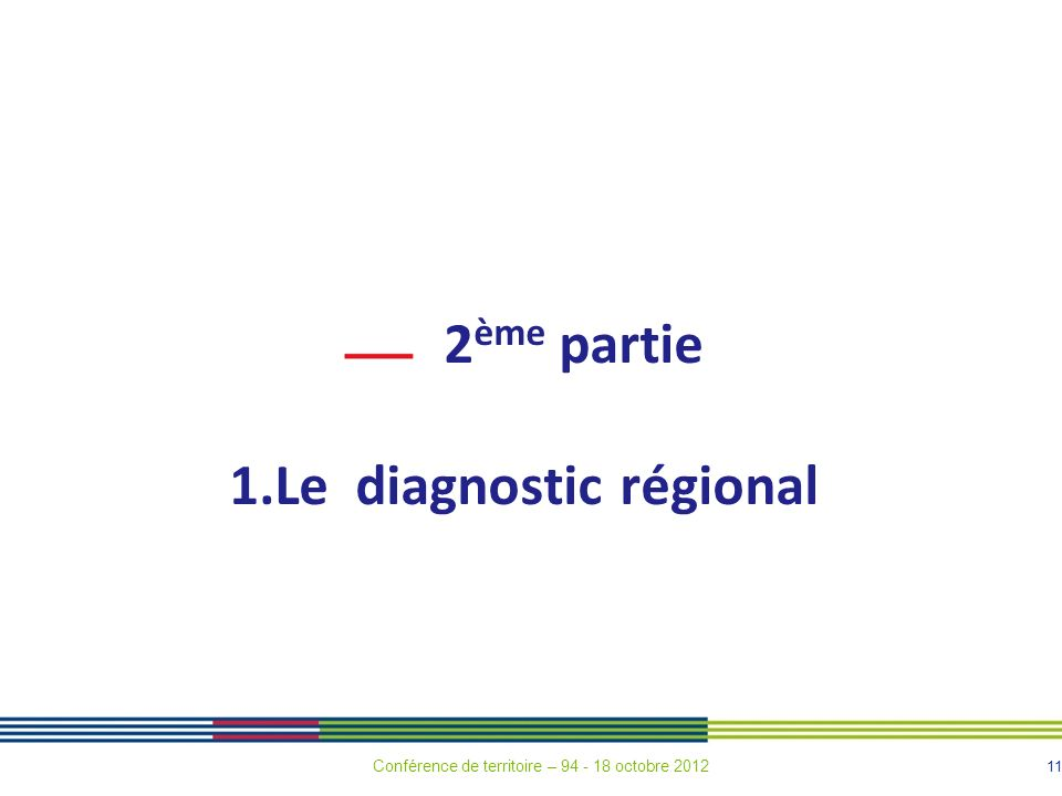 11 2 ème partie 1.Le diagnostic régional Conférence de territoire – 94 - 18 octobre 2012