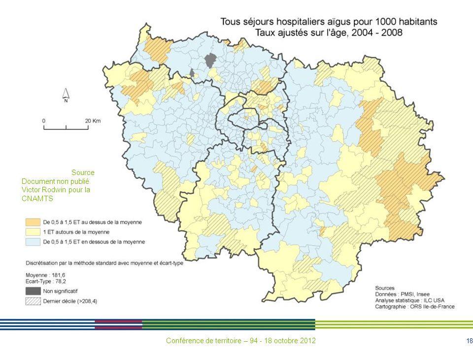 18 Source Document non publié Victor Rodwin pour la CNAMTS Conférence de territoire – 94 - 18 octobre 2012