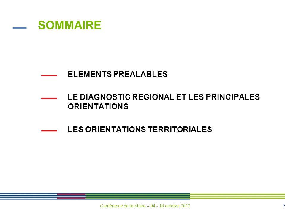 2 SOMMAIRE ELEMENTS PREALABLES LE DIAGNOSTIC REGIONAL ET LES PRINCIPALES ORIENTATIONS LES ORIENTATIONS TERRITORIALES Conférence de territoire – 94 - 18 octobre 2012
