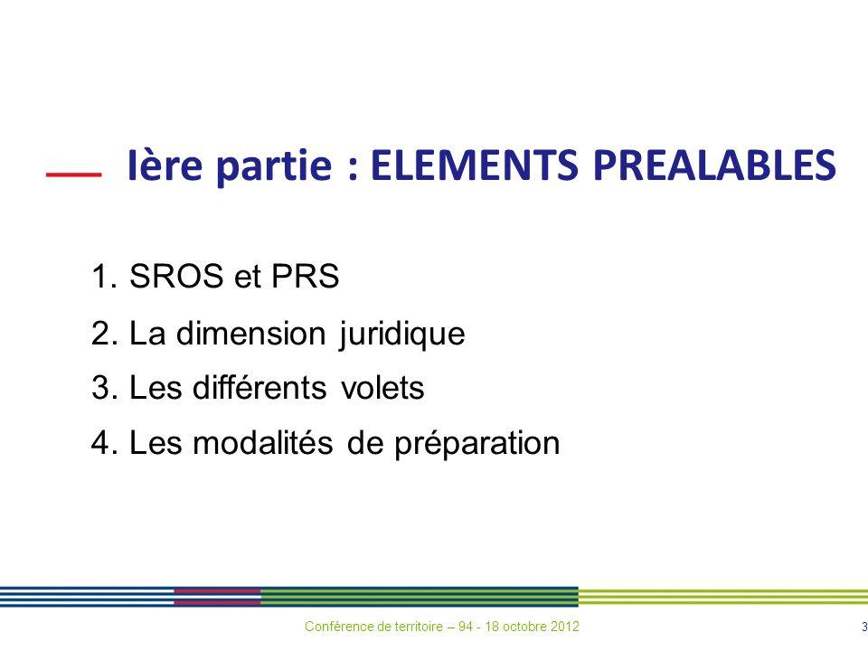 3 Ière partie : ELEMENTS PREALABLES 1.SROS et PRS 2.