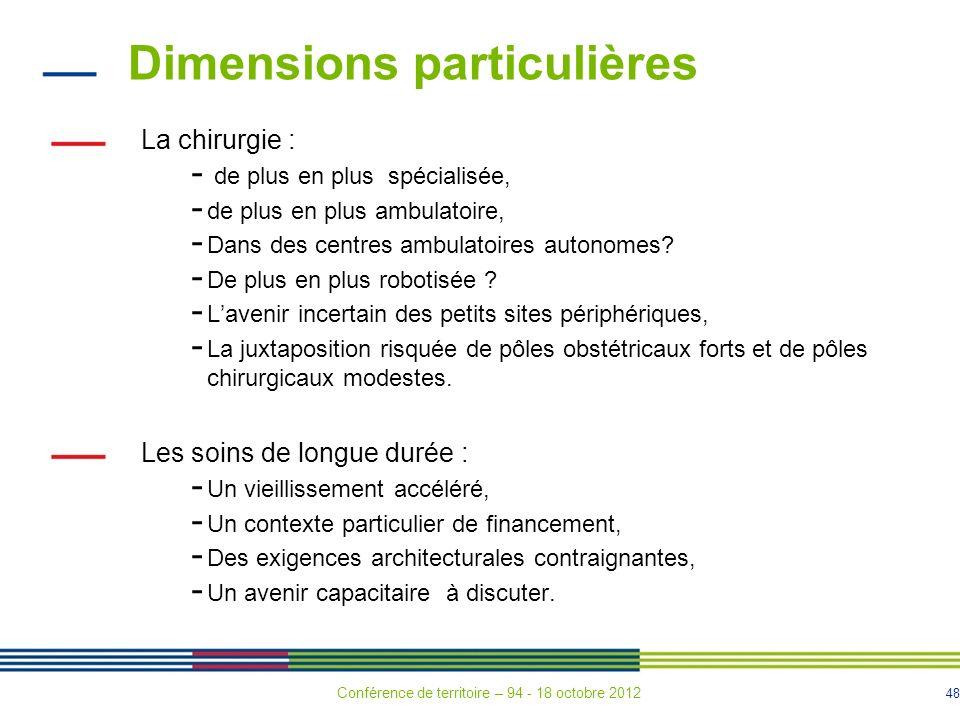 48 Dimensions particulières La chirurgie : - de plus en plus spécialisée, - de plus en plus ambulatoire, - Dans des centres ambulatoires autonomes.