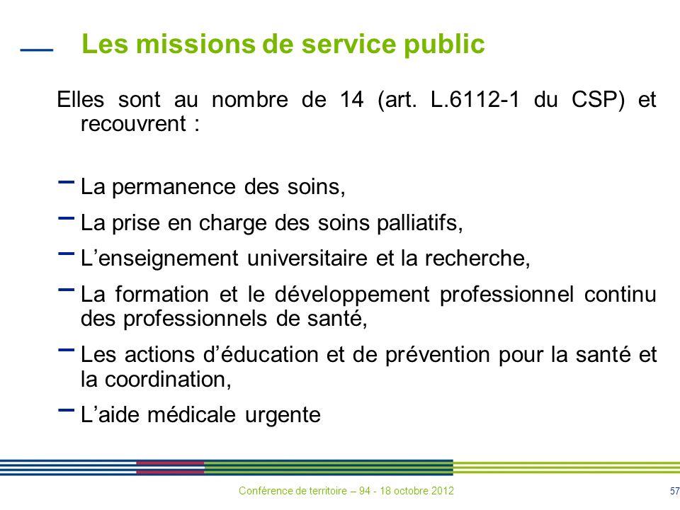 57 Les missions de service public Elles sont au nombre de 14 (art.
