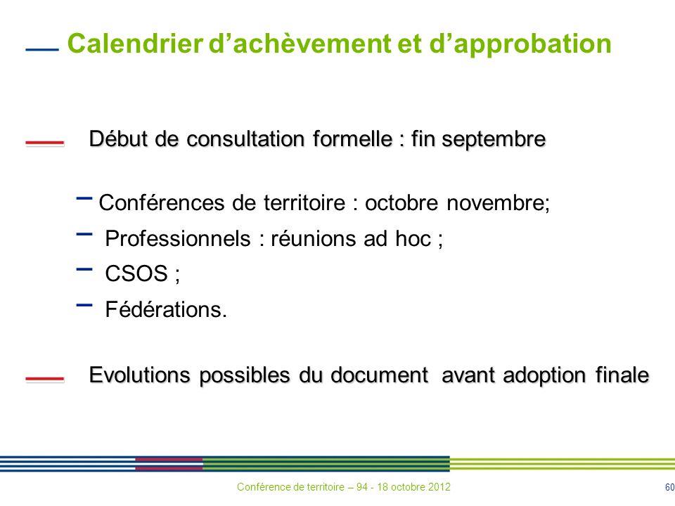60 Calendrier dachèvement et dapprobation Début de consultation formelle : fin septembre Conférences de territoire : octobre novembre; Professionnels : réunions ad hoc ; CSOS ; Fédérations.