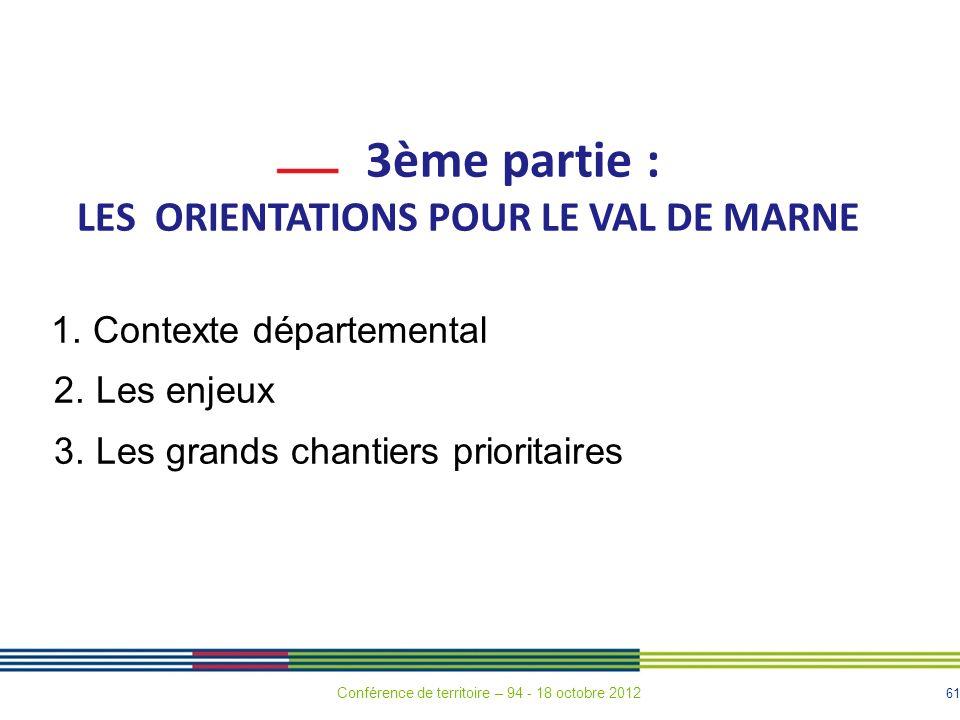 61 3ème partie : LES ORIENTATIONS POUR LE VAL DE MARNE 1.