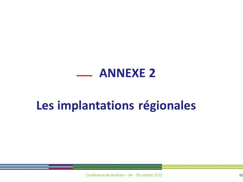 86 ANNEXE 2 Les implantations régionales Conférence de territoire – 94 - 18 octobre 2012
