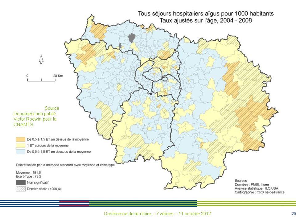 20 Source Document non publié Victor Rodwin pour la CNAMTS Conférence de territoire – Yvelines – 11 octobre 2012