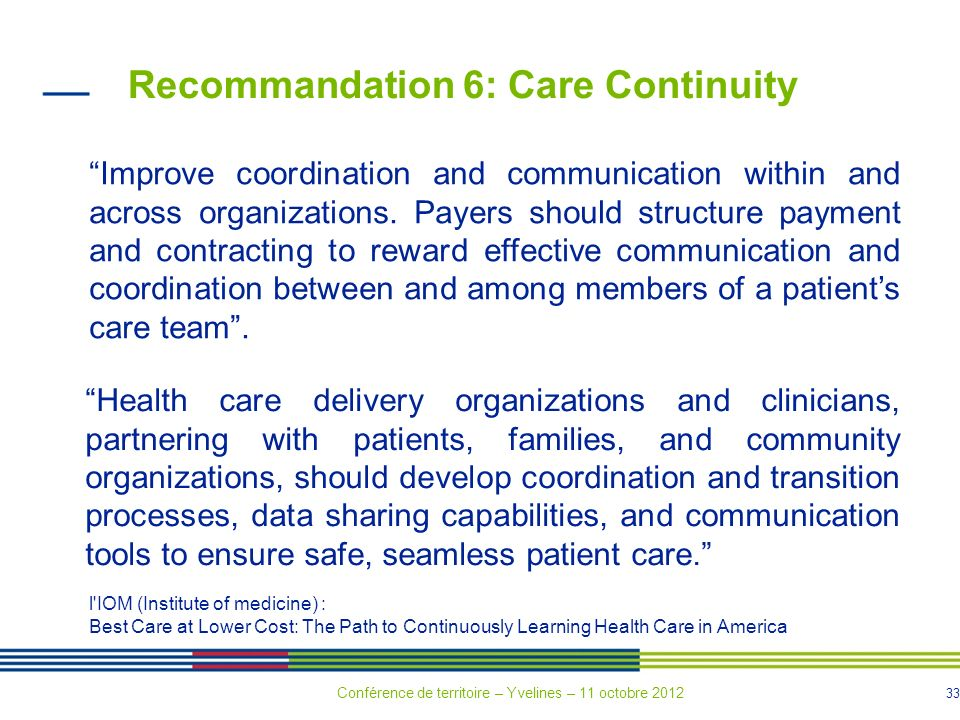 33 Recommandation 6: Care Continuity Improve coordination and communication within and across organizations.