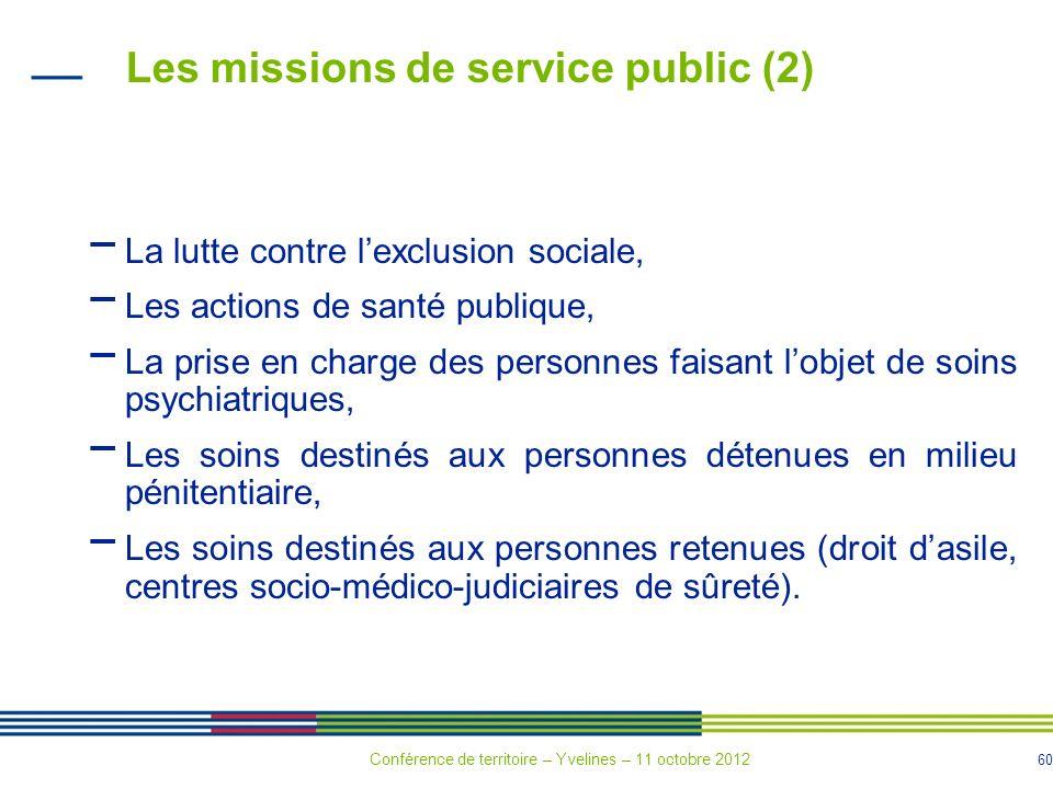 60 Les missions de service public (2) La lutte contre lexclusion sociale, Les actions de santé publique, La prise en charge des personnes faisant lobj