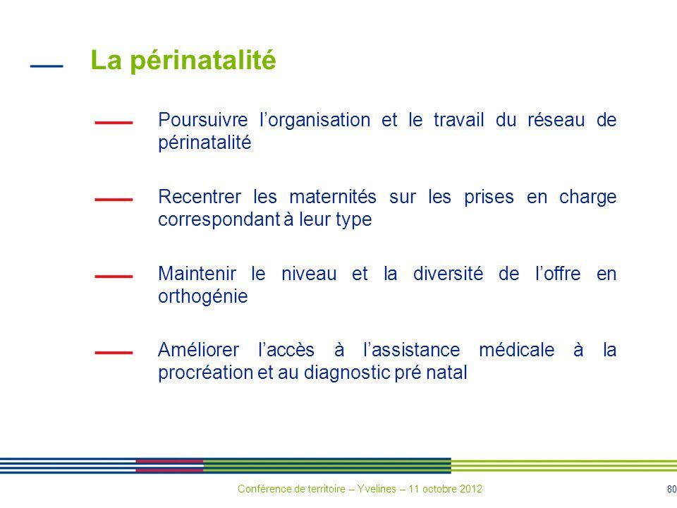 80 La périnatalité Poursuivre lorganisation et le travail du réseau de périnatalité Recentrer les maternités sur les prises en charge correspondant à