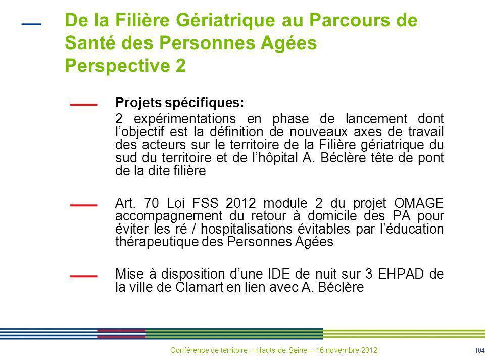 104 De la Filière Gériatrique au Parcours de Santé des Personnes Agées Perspective 2 Projets spécifiques: 2 expérimentations en phase de lancement don