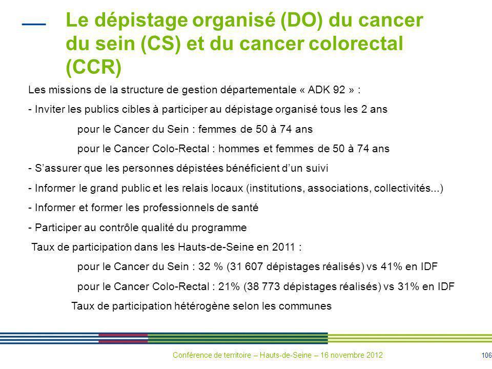 106 Le dépistage organisé (DO) du cancer du sein (CS) et du cancer colorectal (CCR) Les missions de la structure de gestion départementale « ADK 92 »