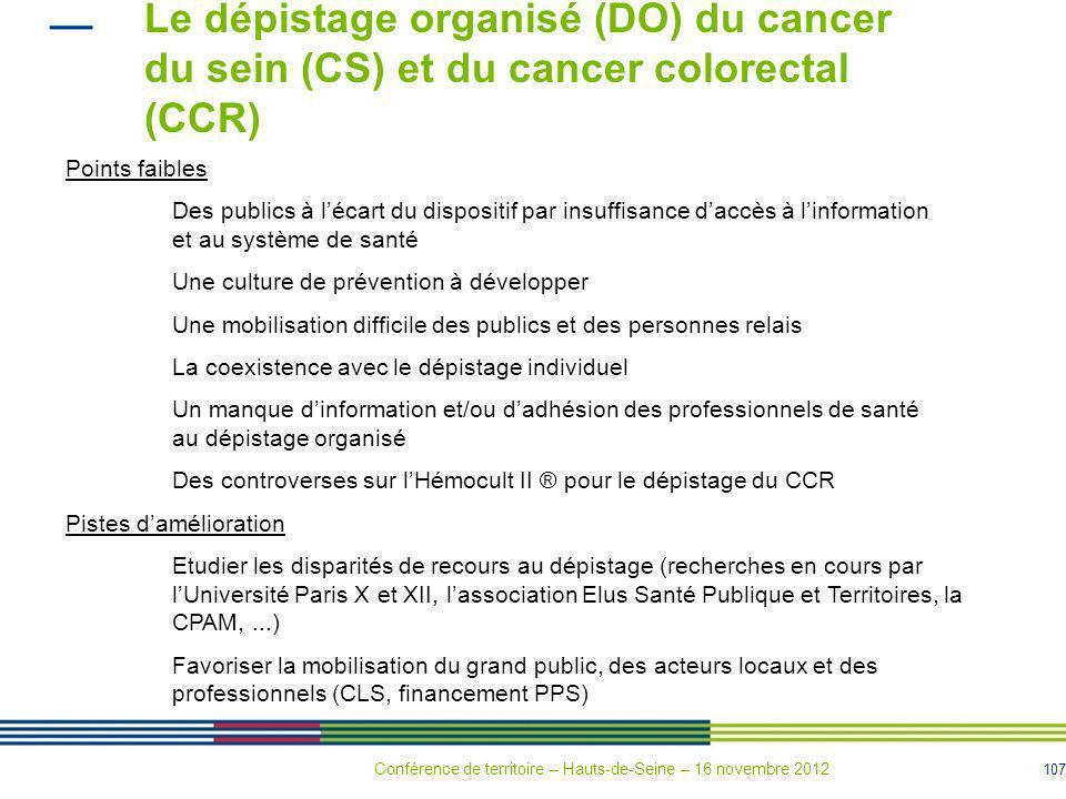 107 Le dépistage organisé (DO) du cancer du sein (CS) et du cancer colorectal (CCR) Points faibles Des publics à lécart du dispositif par insuffisance