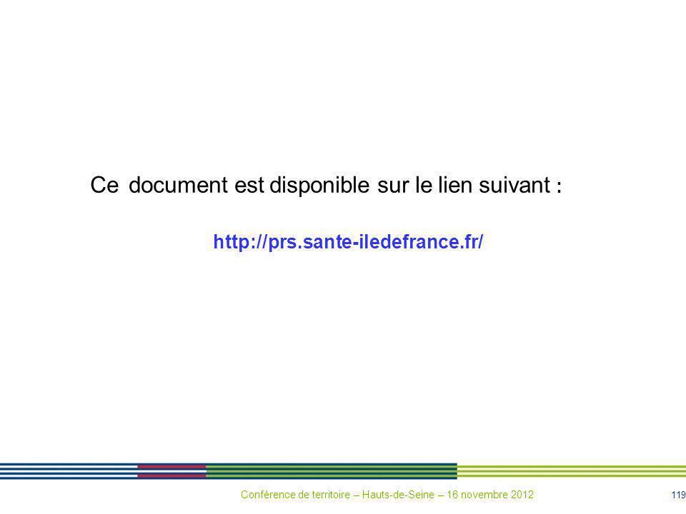 119 Ce document est disponible sur le lien suivant : http://prs.sante-iledefrance.fr/ Conférence de territoire – Hauts-de-Seine – 16 novembre 2012