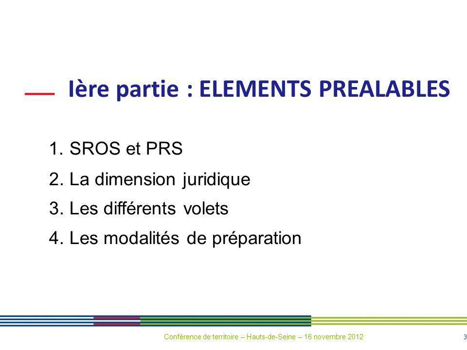 3 Ière partie : ELEMENTS PREALABLES 1. SROS et PRS 2. La dimension juridique 3. Les différents volets 4. Les modalités de préparation Conférence de te