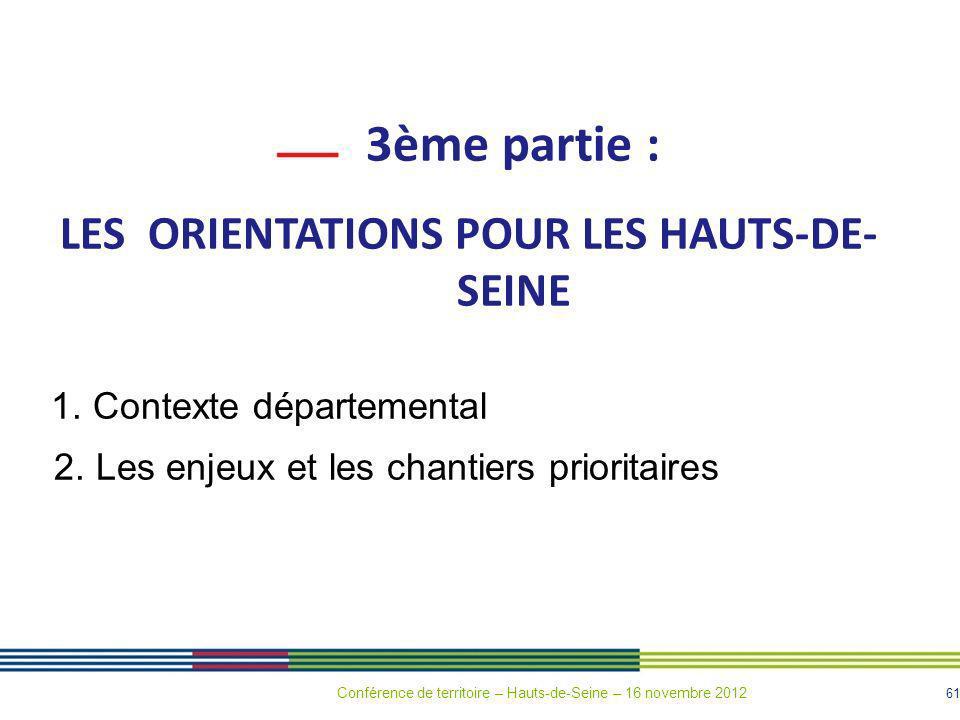 61 3ème partie : LES ORIENTATIONS POUR LES HAUTS-DE- SEINE 1. Contexte départemental 2. Les enjeux et les chantiers prioritaires Conférence de territo