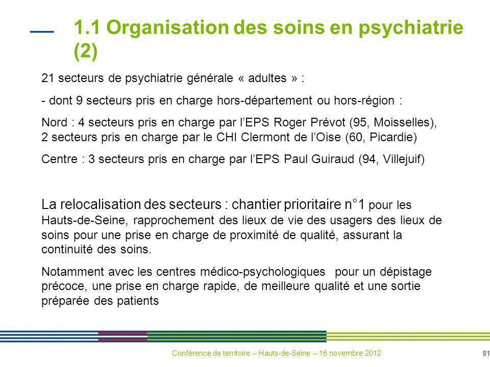 81 1.1 Organisation des soins en psychiatrie (2) 21 secteurs de psychiatrie générale « adultes » : - dont 9 secteurs pris en charge hors-département o
