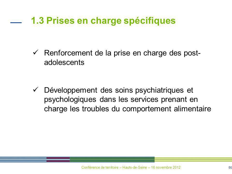 86 1.3 Prises en charge spécifiques Renforcement de la prise en charge des post- adolescents Développement des soins psychiatriques et psychologiques