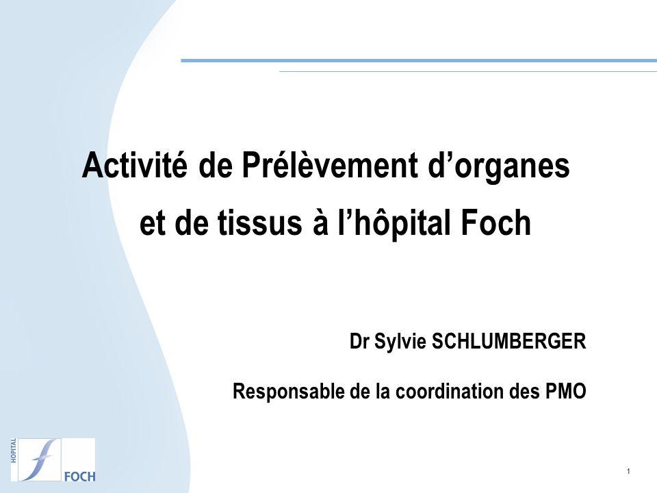 1 Activité de Prélèvement dorganes et de tissus à lhôpital Foch Dr Sylvie SCHLUMBERGER Responsable de la coordination des PMO