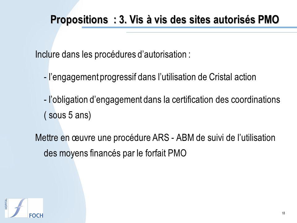 18 Propositions : 3. Vis à vis des sites autorisés PMO Inclure dans les procédures dautorisation : - lengagement progressif dans lutilisation de Crist