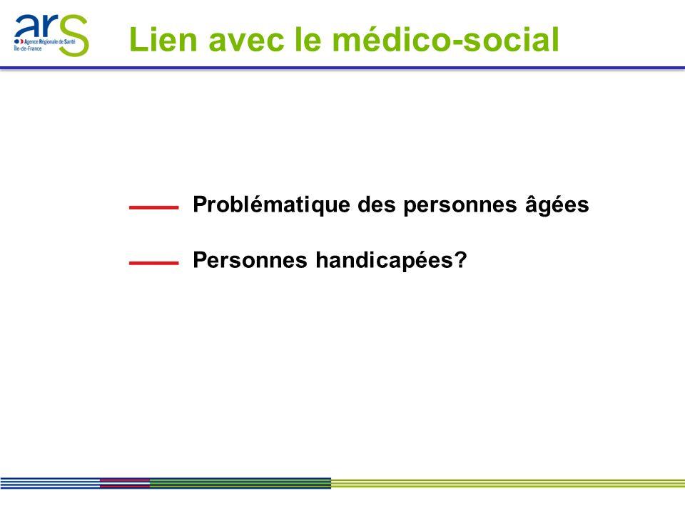 Problématique des personnes âgées Personnes handicapées? Lien avec le médico-social