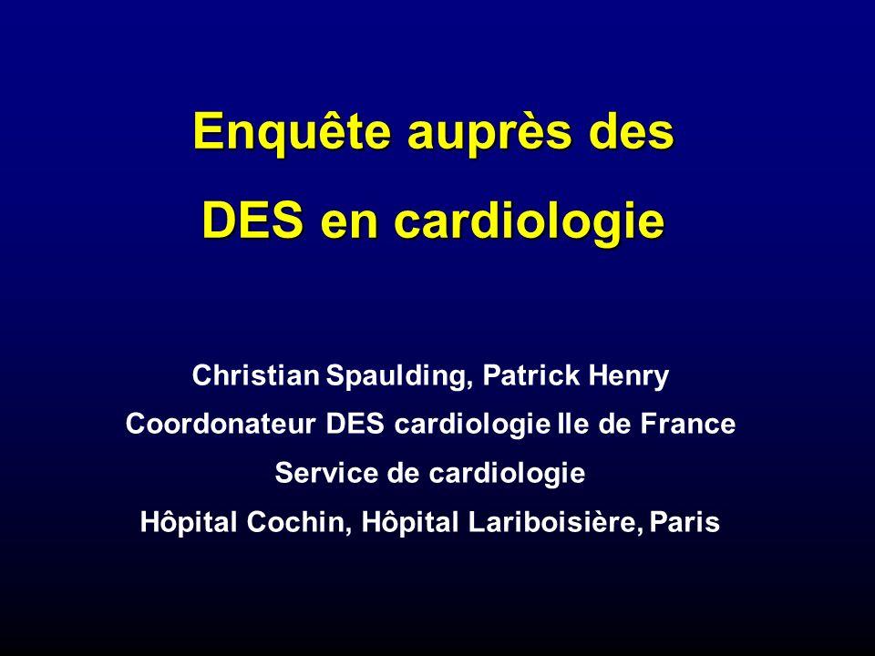 Enquête auprès des DES en cardiologie Christian Spaulding, Patrick Henry Coordonateur DES cardiologie Ile de France Service de cardiologie Hôpital Cochin, Hôpital Lariboisière, Paris