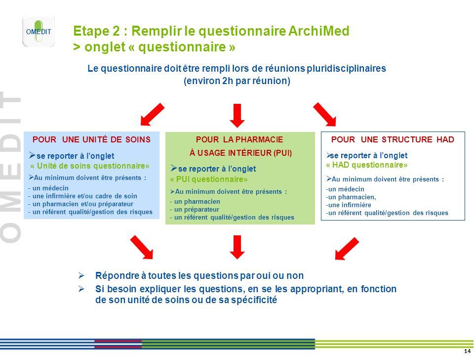 O M E D I T Etape 2 : Remplir le questionnaire ArchiMed > onglet « questionnaire » POUR UNE UNITÉ DE SOINS se reporter à longlet « Unité de soins ques