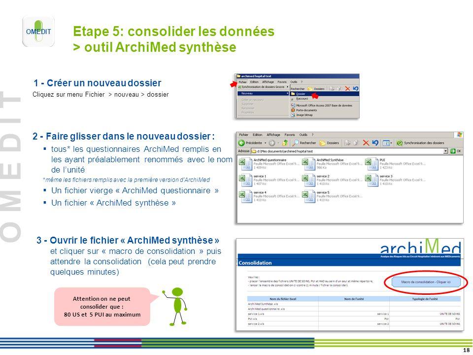 O M E D I T Etape 5: consolider les données > outil ArchiMed synthèse 1 - Créer un nouveau dossier Cliquez sur menu Fichier > nouveau > dossier 3 - Ouvrir le fichier « ArchiMed synthèse » et cliquer sur « macro de consolidation » puis attendre la consolidation (cela peut prendre quelques minutes) 2 - Faire glisser dans le nouveau dossier : tous* les questionnaires ArchiMed remplis en les ayant préalablement renommés avec le nom de lunité *même les fichiers remplis avec la première version dArchiMed Un fichier vierge « ArchiMed questionnaire » Un fichier « ArchiMed synthèse » 18 Attention on ne peut consolider que : 80 US et 5 PUI au maximum