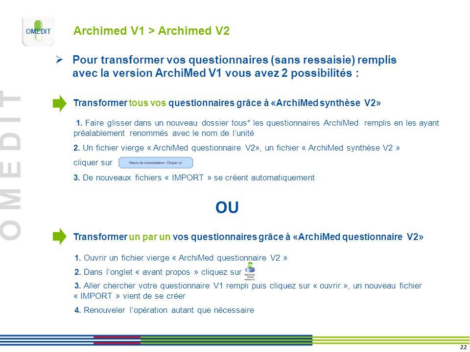 O M E D I T 1. Ouvrir un fichier vierge « ArchiMed questionnaire V2 » 2. Dans longlet « avant propos » cliquez sur 3. Aller chercher votre questionnai