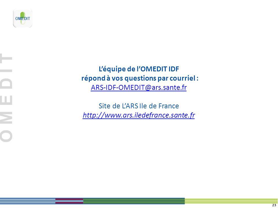 O M E D I T Léquipe de lOMEDIT IDF répond à vos questions par courriel : ARS-IDF-OMEDIT@ars.sante.fr Site de LARS Ile de France http://www.ars.iledefr