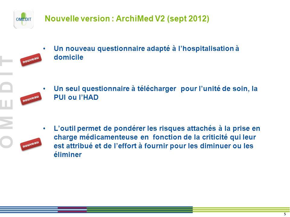 O M E D I T Nouvelle version : ArchiMed V2 (sept 2012) Un nouveau questionnaire adapté à lhospitalisation à domicile Un seul questionnaire à télécharg