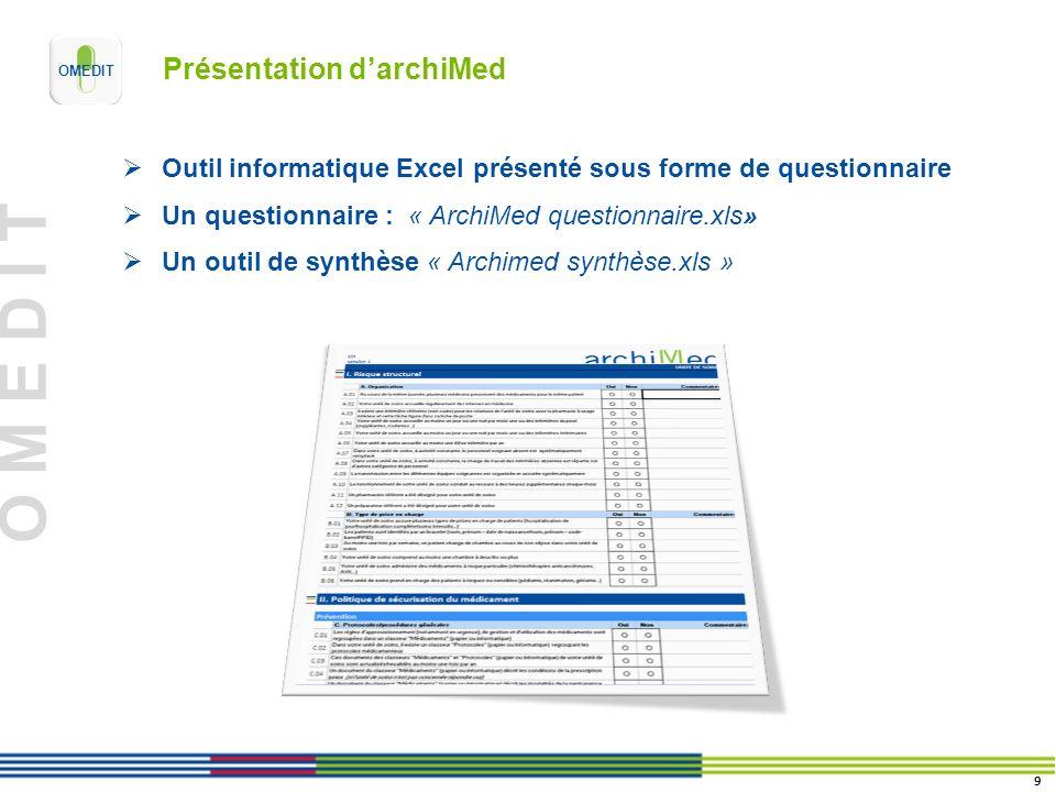 O M E D I T Présentation darchiMed Outil informatique Excel présenté sous forme de questionnaire Un questionnaire : « ArchiMed questionnaire.xls» Un outil de synthèse « Archimed synthèse.xls » 9