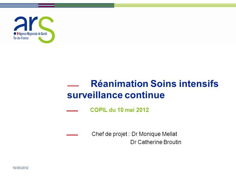 10/05/2012 Réanimation Soins intensifs surveillance continue COPIL du 10 mai 2012 Chef de projet : Dr Monique Mellat Dr Catherine Broutin