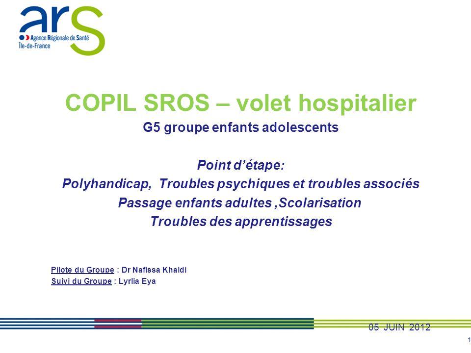 1 COPIL SROS – volet hospitalier G5 groupe enfants adolescents Point détape: Polyhandicap, Troubles psychiques et troubles associés Passage enfants ad
