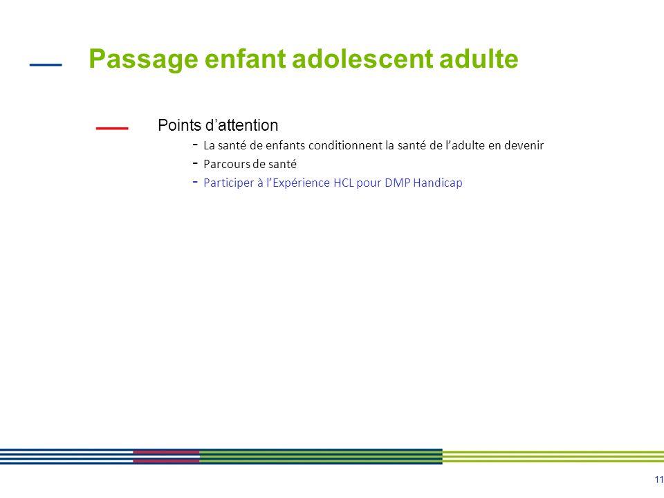 11 Passage enfant adolescent adulte Points dattention - La santé de enfants conditionnent la santé de ladulte en devenir - Parcours de santé - Partici