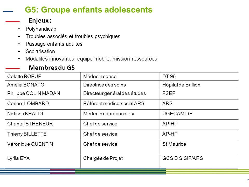 2 G5: Groupe enfants adolescents Enjeux : - Polyhandicap - Troubles associés et troubles psychiques - Passage enfants adultes - Scolarisation - Modali