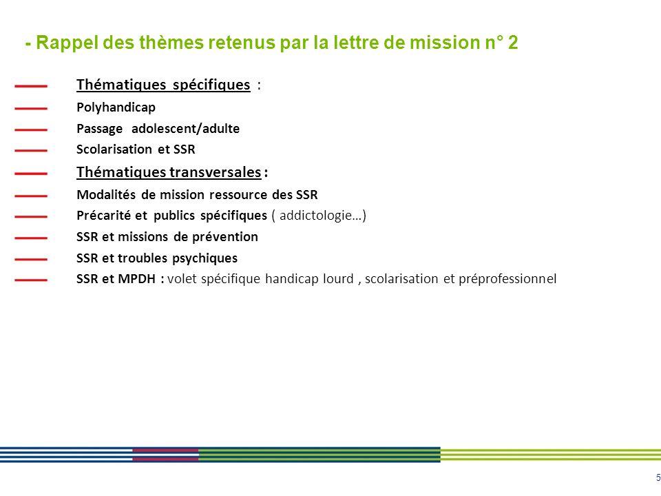 5 - Rappel des thèmes retenus par la lettre de mission n° 2 Thématiques spécifiques : Polyhandicap Passage adolescent/adulte Scolarisation et SSR Thém