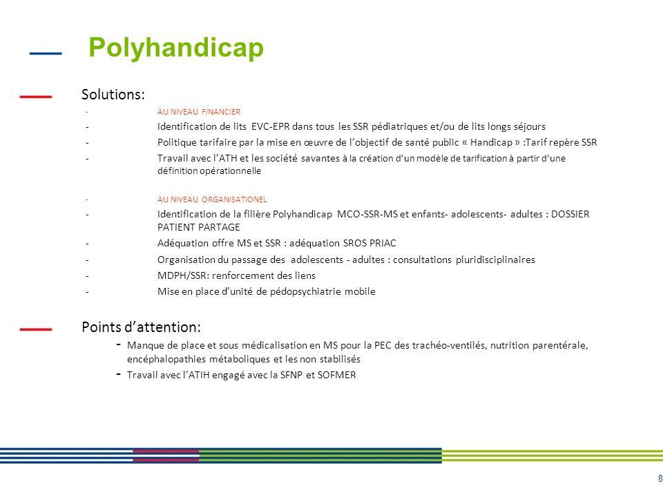 8 Polyhandicap Solutions: -AU NIVEAU FINANCIER -Identification de lits EVC-EPR dans tous les SSR pédiatriques et/ou de lits longs séjours -Politique t