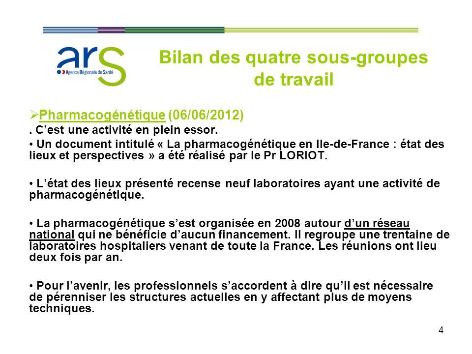 4 Pharmacogénétique (06/06/2012). Cest une activité en plein essor. Un document intitulé « La pharmacogénétique en Ile-de-France : état des lieux et p