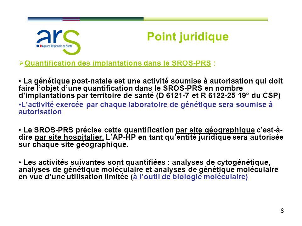 8 Quantification des implantations dans le SROS-PRS : La génétique post-natale est une activité soumise à autorisation qui doit faire lobjet dune quan